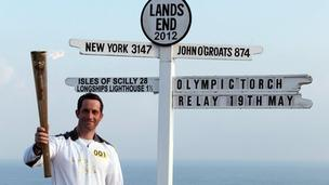 Olympic torch at Land;s End