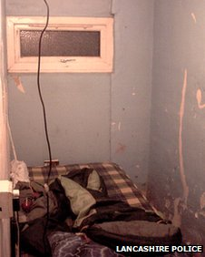 The room where the boy was kept in Blackpool