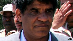 Former Libyan intelligence chief Abdallah al-Senussi in Tripoli on 22 June 2011 (file picture)