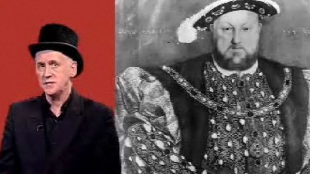 Author Terry Deary with a picture of Henry VIII