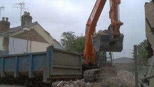 Demolition work in Rosehill Street