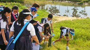 Students of Rosyth School in Bishan Park, Singapore on 26 April, 2012