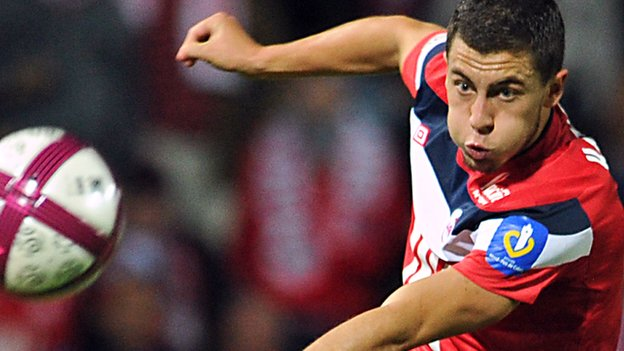 Eden Hazard takes a shot playing for Lille