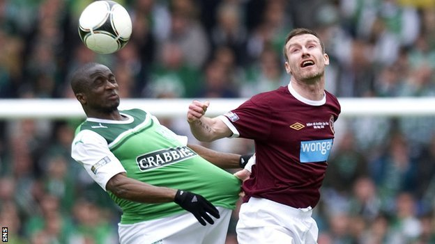 Elliott (right) in action against Hibs in the Scottish Cup final
