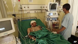 Injured soldier in Sanaa hospital