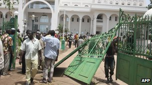 Picture showing broken down gate after thousands of Malians protested on May 21, 2012 in Bamako