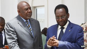 "Mali""s interim Prime Minister Cheick Modibo Diarra (L) and Mali""s interim leader Dioncounda Traore at the first council of Ministers of Mali""s new government in Koulouba on May 9, 2012."