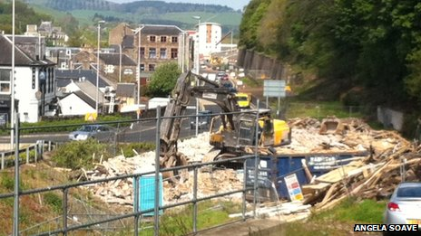 Flat demolition in Galashiels