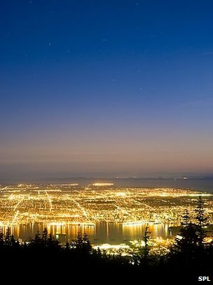 Light pollution in Vancouver