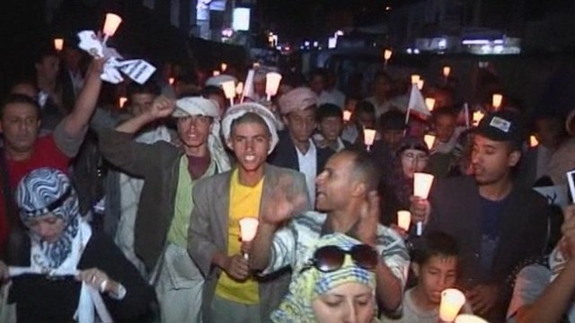 People marching in the Yemen capital Sanaa