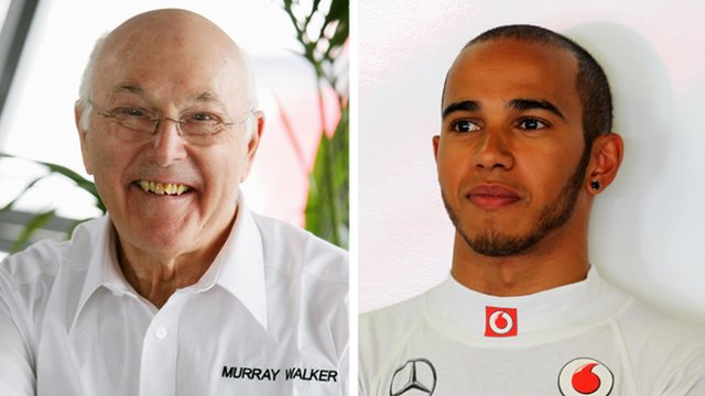 Murray Walker and Lewis Hamilton