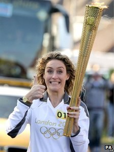 Amy Williams with the Olympic torch