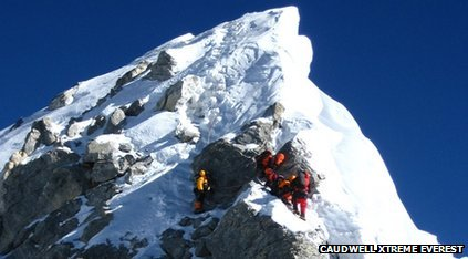 Climbers on Everest's Hillary Step