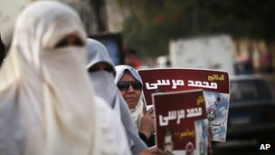 Women hold up posters for the Muslim Brotherhood presidential candidate, Mohammed Mursi in Cairo in May 2012