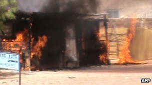 Screen grab of video said to show a bar in Timbuktu being burnt