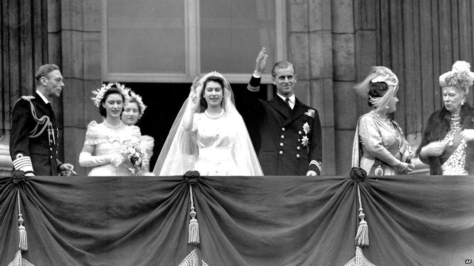 Britain s Queen Elizabeth II  then Princess Elizabeth  and her husband