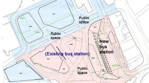 Plan of proposed bus station