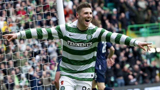 Hooper celebrates one of his 29 goals for Celtic last season