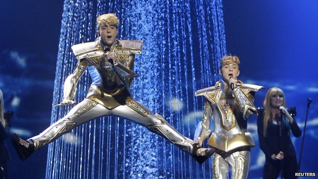 Jedward performing at Eurovision semi-final