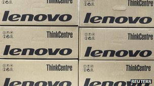 Boxes of Lenovo computers