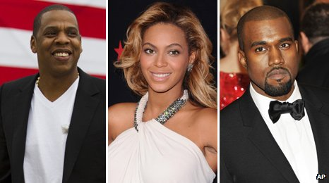 Jay-Z, Beyonce and Kanye West