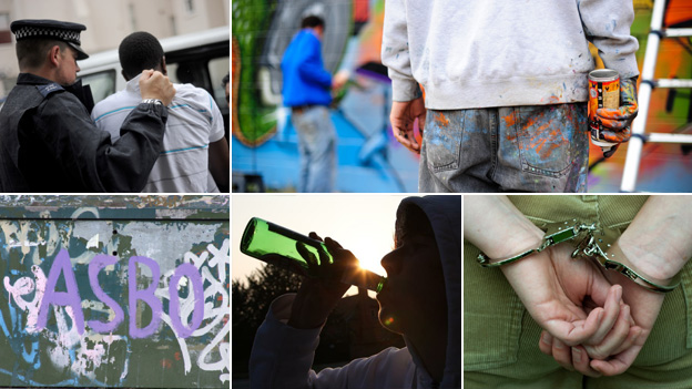 From top left, clockwise: Police officer arresting man, two people with graffiti cans, man in handcuffs, young man drinking, Graffiti spray of the word 'Asbo'