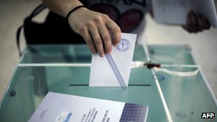 Person voting in Greece, 6 May 2012