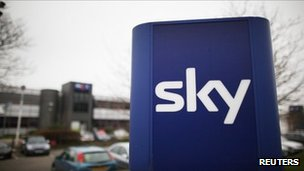Sky logo outside of its office in west London