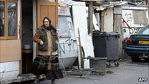 A woman enters a Roma camp outside Paris (file pic from 2007) 