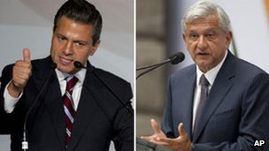 Enrique Pena Nieto (left) and Andres Manuel Lopez Obrador (right)