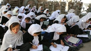 Young female students during a class lesson at a school in Kabul, Afghanistan