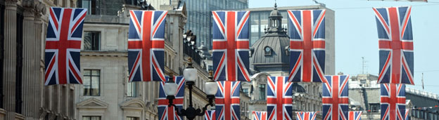 Flags in Regent Street, London