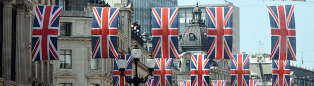 Flags in Regent Street, London