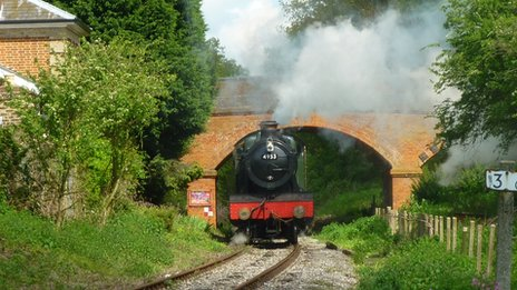 Steam engine running through Blake End on the Epping to Ongar railway