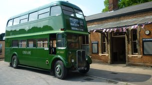 Restored bus and Ongar railway station