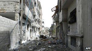 Destruction in the Syrian city of Homs on 22 May 2012