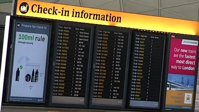 Stansted check-in board