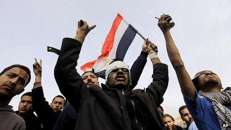 Pro-democracy protesters in Tahrir Square, Cairo, on 29 January 2011
