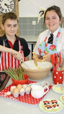 Students at Latimer Arts College cooking.