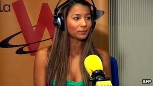 Dania Londono Suarez interviewed at W Radio and Caracol TV, in Madrid, Spain 4 May 2012
