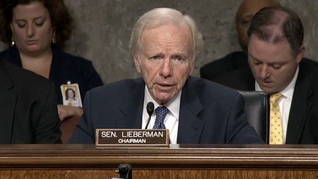 Senator Joseph Lieberman at a Senate hearing 23 May 2012