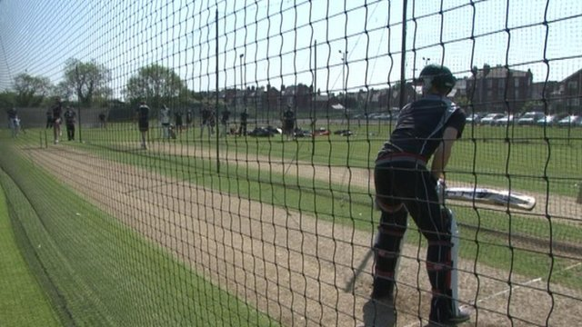 Nottinghamshire cricketers practice in the nets
