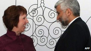 EU foreign policy chief Catherine Ashton  with Iran&#039;s chief negotiator Saeed Jalili