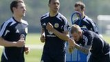 Matt Phillips (centre) trains with Scotland