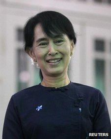 Myanmar pro-democracy leader Aung San Suu Kyi at home in Rangoon on 6 May, 2012