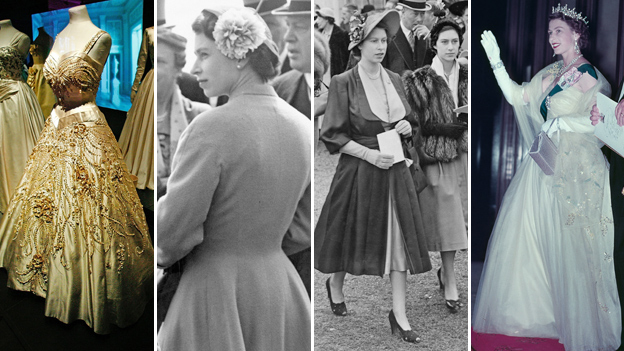Composite image showing from left to right: a gown designed for Queen Elizabeth II by Norman Hartnell from 1957, Queen Elizabeth II at the Derby, Epsom Downs Racecourse, Surrey, 1955, at Epsom with Princess Margaret in 1950, and Queen Elizabeth II at a State Banquet in Canberra, Australia, 1954, wearing dress by Norman Hartnell