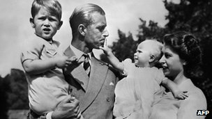 Queen Elizabeth II, and her husband Philip, Duke of Edinburgh, with their two children, Charles, Prince of Wales (L) and Princess Anne (R), circa 1951