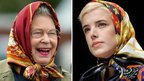 Queen Elizabeth II (left) and Agyness Deyn (right)
