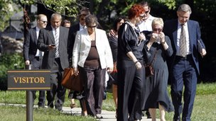 Mourners leave the Donna Summer memorial service