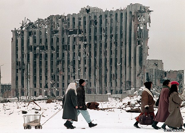 Ruined presidential palace in Grozny